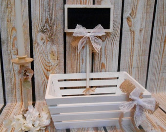 White Wash Wedding Crate and Chalkboard Sign / Wedding Card Holder / Wedding Program Holder / Wedding Favor Holder / Wedding Card Box