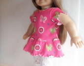"""Doll Clothes Pink Tunic w White Lace Capri Pants for 18""""  soft bodied dolls"""