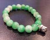 Green Stone Buddha Bracelet 5, Green Adventurine stretch bracelet, Prosperity Gift, Sister gift, Child's Bracelet
