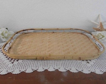 Vintage Serving Tray Bamboo and Rattan Beach Cottage Island Home Decor Tropical Luau Decoration Birthday Christmas Gift For Him Stackable