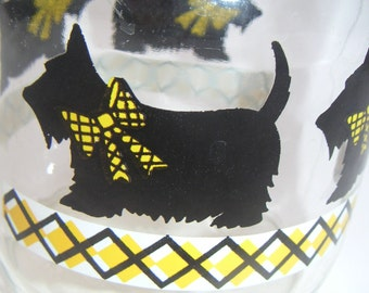 Vintage Glass Jar With Lid. Scottish Terrier. Food Storage