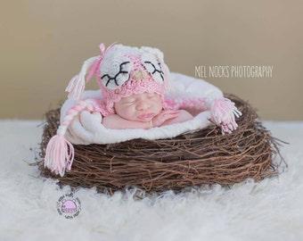 Crochet Owl Winking  or Sleepy Earflap Hat  boys or girls