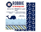 WHALE Birthday Party - Printable INVITATION -  Nautical Theme- Custom Digital or Professionally Printed Invitation