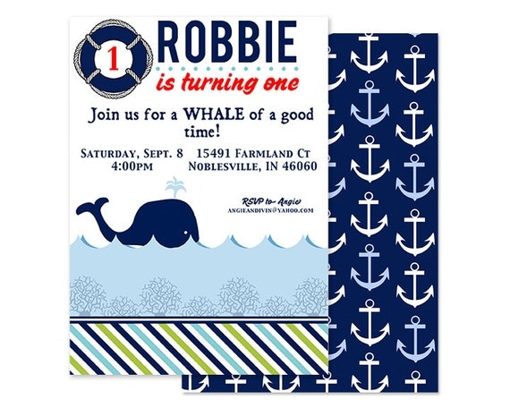 WHALE Birthday Party - Printable INVITATION -  Nautical Theme- Custom Digital or Professionally Printed Invitation