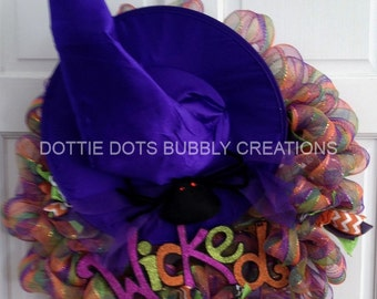 Wicked Witch Hat Mesh Wreath