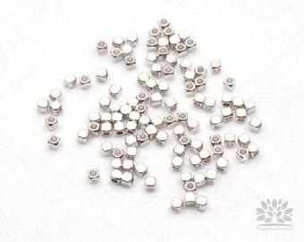 MB015-01-R// Rhodium Plated 2mm Square Metal Bead, 10 pcs