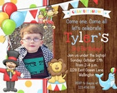 Rustic Circus Carnival Birthday Invitation Boy Lion Ringmaster Photo Card Printable Invite
