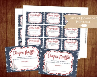 Nautical Red and Blue Printable Diaper Raffle Tickets for Baby Shower INSTANT DOWNLOAD