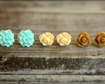 Flower Earring Studs Trio: Seafoam Ribbon Flower, Buttercream Rose Bud, Chai Rose
