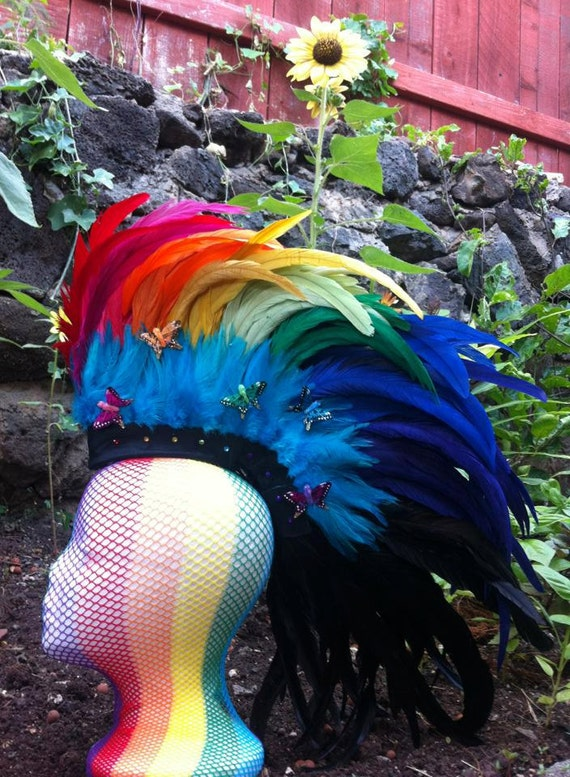 "Customizable Feather Mohawk / Headdress - ""Rainbow Dash"""