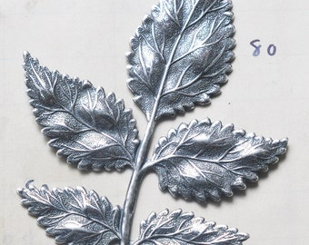 Large brass leaf spray stamping, Sterling Silver Finish