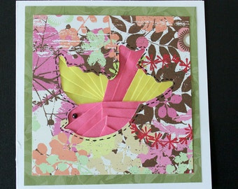 Colorful Handmade Card with iris folded Bird and embossed envelope