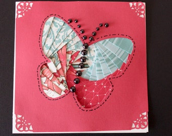 Colorful Handmade Card with iris folded Butterfly and embossed envelope