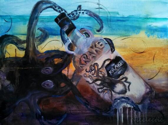 Studio clearance sale, art sale, Kraken Rum bottle, Why is the rum always gone, bottle beach, bar art, alcohol, release the kraken, man cave