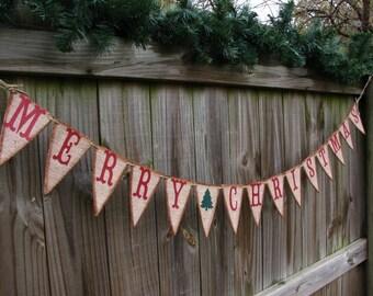 Christmas Decor Garland Banner, Merry Christmas Burlap, Rustic Holiday Decor, Pennant Style Merry Christmas Banner, Christmas Photo Prop