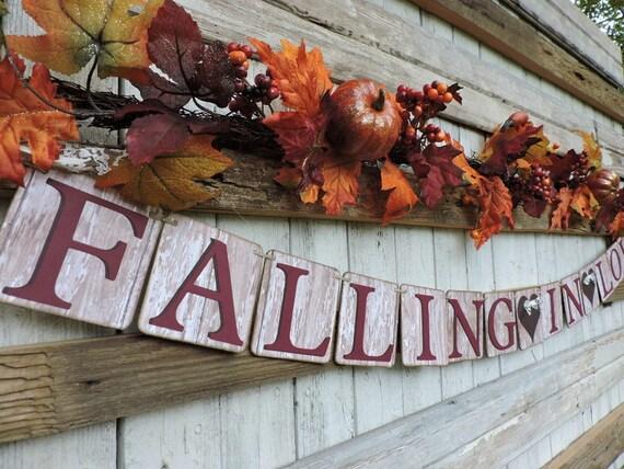 fall wedding banner, fall in love wedding banner