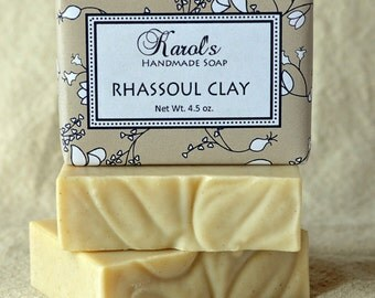 Rhassoul Clay Soap ~ All Natural Soap, Handmade Soap, Unscented Soap, Vegan Soap, Facial Soap