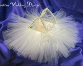 Soft Ivory Tulle Flower Girl Basket. The finising touch to that perfect day. Available in almost every color.