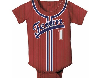 Personalized Baby Baseball Jersey, Onepiece Bodysuit, Baby Boy Clothing, Custom Jersey, Any Team
