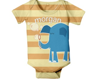 Blue Elephant Baby Bodysuit, Personalized Baby Boy One Piece, Onepiece Baby Clothing