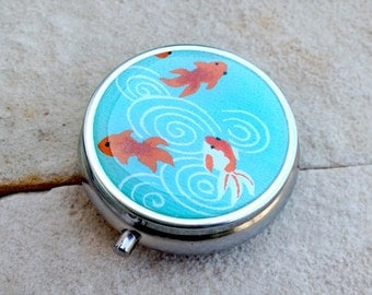 Pill box Jewelry case with Japanese handmade washi paper (Fish) with gift envelope