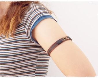Infinity Leather Armband, Leather Arm Cuff, Infinity Leather Armlet, Eternity Symbol Leather Arm Band, Warrior Armband, Boho Tribal Jewelry