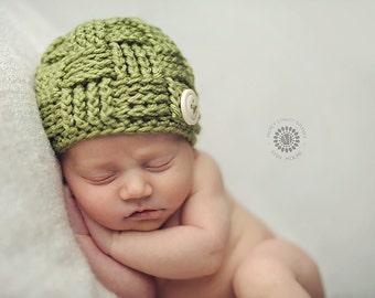 Baby Boy Hat, Green Baby Hat, Crochet Hat, Toddler Hat, Child Hat, Child Beanie, Toddler Beanie, Fall Winter Hat
