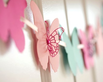 butterfly paper banner garland in pink and teal colors birthday decoration bridal shower baby shower