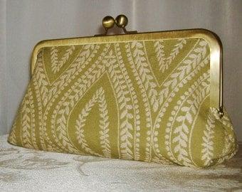 Clutch purse olive green and white mandorla pattern