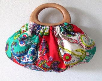 Paisley Wood handle Purse. Beautiful Bright Red, Green & Multicoloured Cotton Fabric Boho Handbag