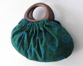Handbag, Block Printed, Wood Handles. Beautiful Blue/Green Indian Block Printed Cotton Fabric Bag.