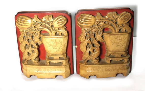 Chinoiserie red and gold bookends. composite. cameo. Borghese label. sale 25% off