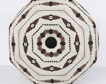 Mid-Century Modern Pouf Ottoman- Footstool- Floor Ottoman- Spaceship- Black and Tan- by beckyzimmdesign