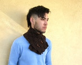 MEN'S BROWN Scarf Hipster Ascot Neck Warmer Hand Made Gifts For Guys Under 50 Dollars Preppy Man