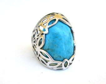 Sterling Silver Turquoise Ring Size 6