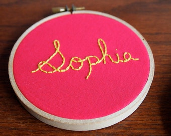 Hand Embroidered Name Hoop - Home Decor, Bedroom Decor, Child's Decor, Baby Shower Gift, Baby Arrival Give