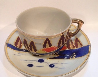 Occupied Japan Demitasse Cup and Saucer Hand Painted Fine China