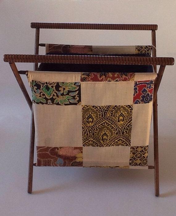 Vintage Folding Knitting Basket : Vintage large folding standing sewing knitting by