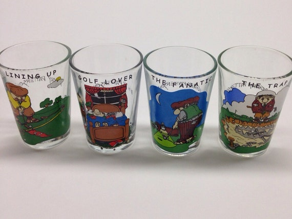Gary Patterson Golf Arby Collectors Series 1982 Golf Glasses Shot glasses 4 jiggers