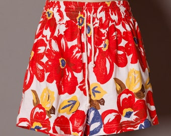 80s 90s Red White Floral Shorts - Energie Bi Currants - M