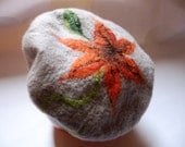 Felted beret  - Orange lily