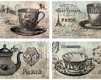 Set of 4 Magnets PARIS TEA PARTY Eiffel Tower Tea Cups Tea Pot Teacups Teapot from Vintage Paper Attic