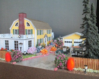 The Amityville House, Made to Order HO Scale Furnished Dollhouse on a Property