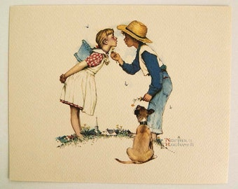 Vintage 1970's Norman Rockwell Beguiling Buttercup Young Love Series Print