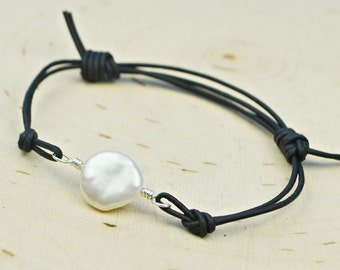 White Freshwater Coin Pearl and Leather Adjustable Bracelet-  Large White Pearl Bead and Sterling Silver Filled Wire Wrapped Bracelet
