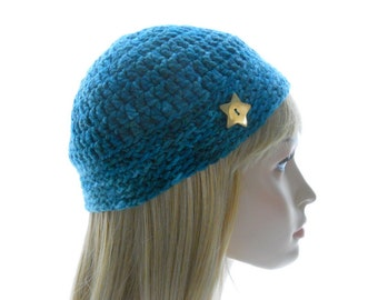 Teal Silk - Wool Hat, Women's Crochet Hat, Hand - Painted Yarn with 24k Gold - Plated Button, Extra Small to Medium Size