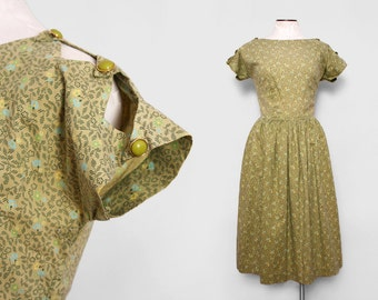 1940s Holiday Dress / Vintage 40s Olive Green Dress / Medium Large