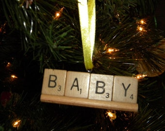 Baby Scrabble Ornament on Tile Rack No 1