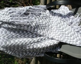 Crochet Ripple Afghan,Knit Chevron Blanket,Throw Blanket,Hippie Decor,Gypsy Decor,Bohemian Blanket,Acrylic Yarn,White,Grey,Fringe,Gift