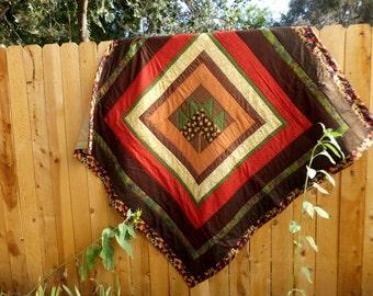 Autumn Leaf Handmade Patchwork Quilt, Hand Quilted